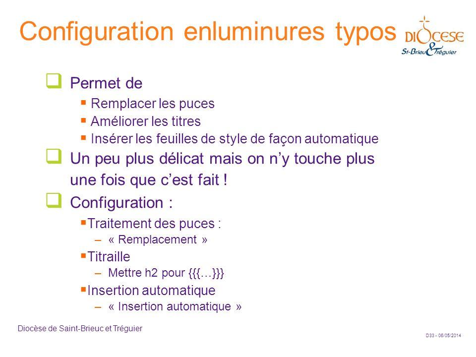 Configuration enluminures typos