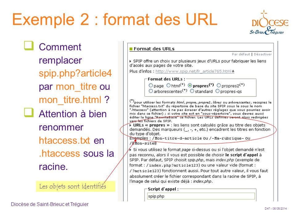 Exemple 2 : format des URL