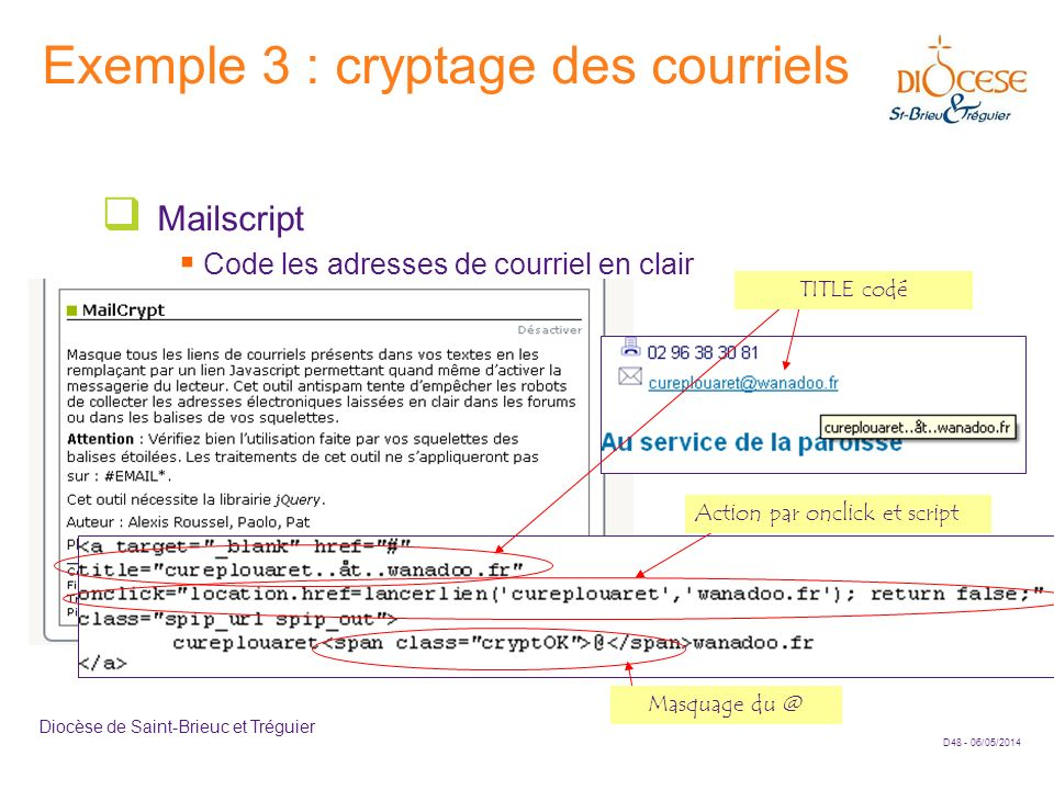 Exemple 3 : cryptage des courriels
