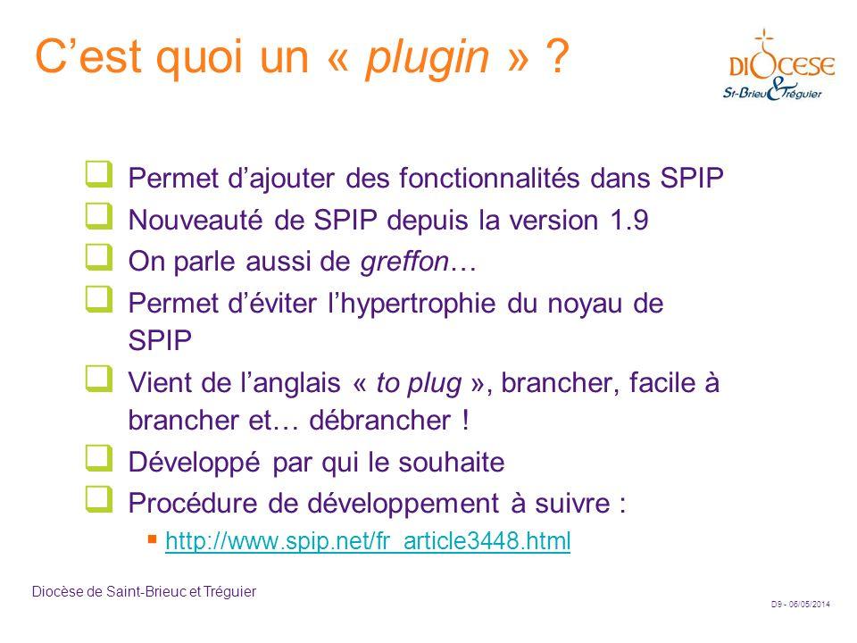 C'est quoi un « plugin » Permet d'ajouter des fonctionnalités dans SPIP. Nouveauté de SPIP depuis la version 1.9.