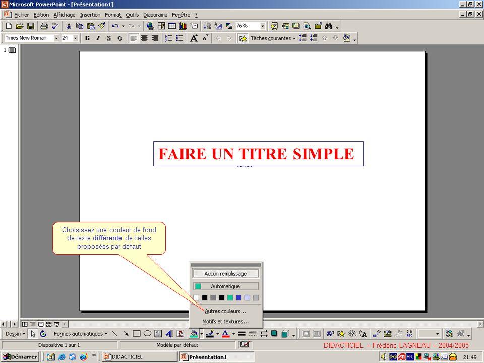 FAIRE UN TITRE SIMPLE Choisissez une couleur de fond de texte différente de celles proposées par défaut.