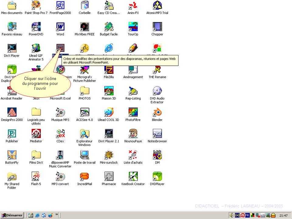 Cliquer sur l'icône du programme pour l'ouvrir
