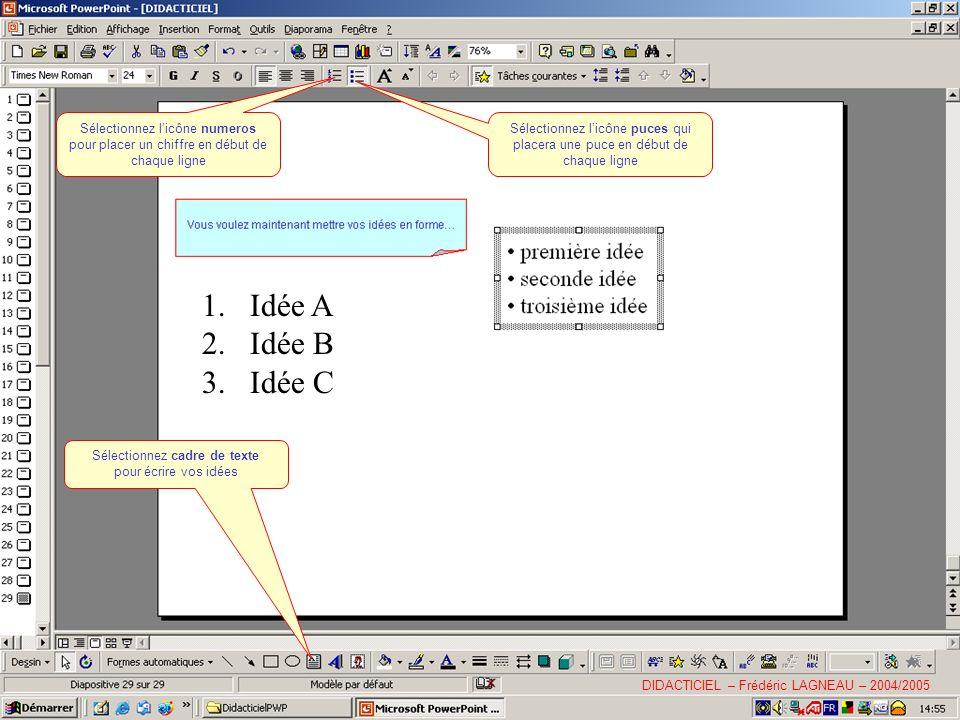 Sélectionnez cadre de texte