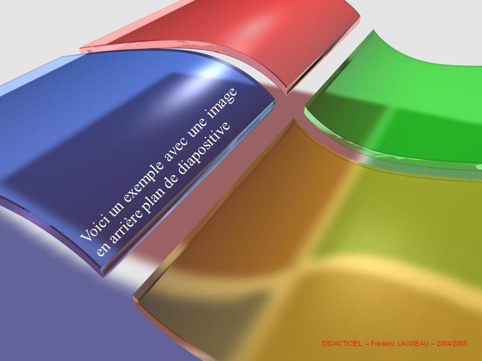 Voici un exemple avec une image en arrière plan de diapositive