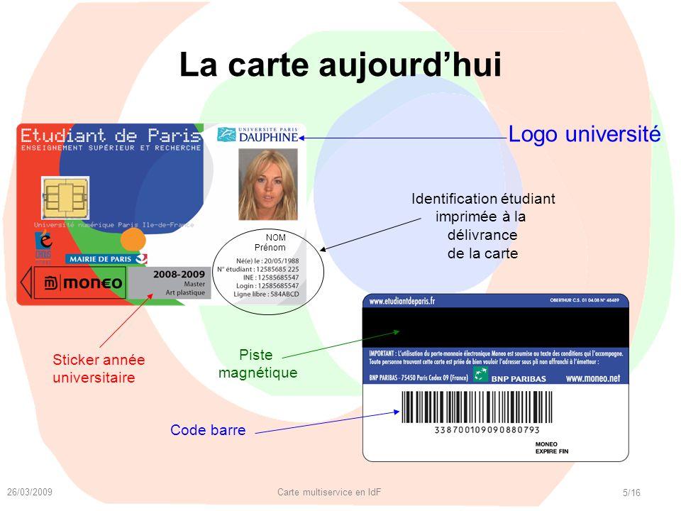 La carte aujourd'hui Logo université Identification étudiant