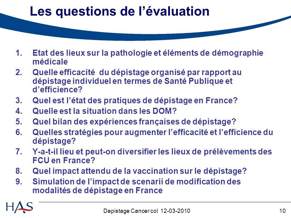 Les questions de l'évaluation