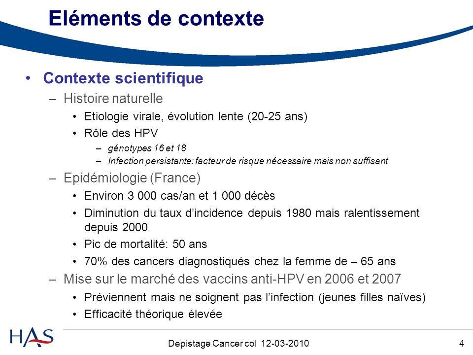 Depistage Cancer col 12-03-2010