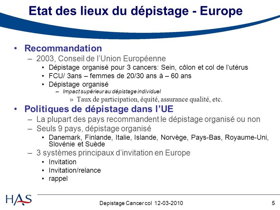 Etat des lieux du dépistage - Europe