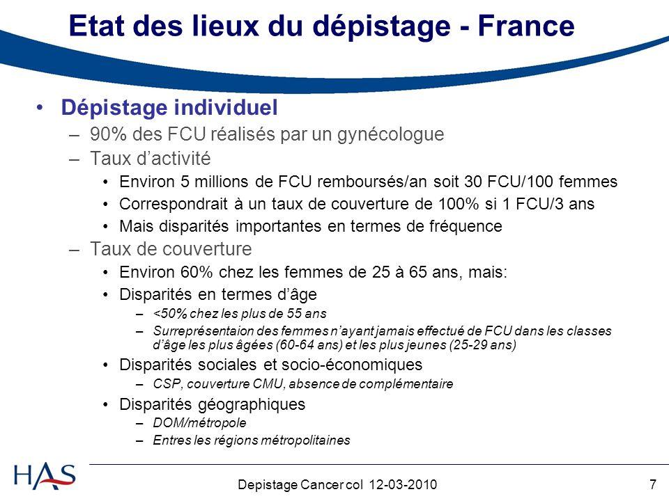 Etat des lieux du dépistage - France