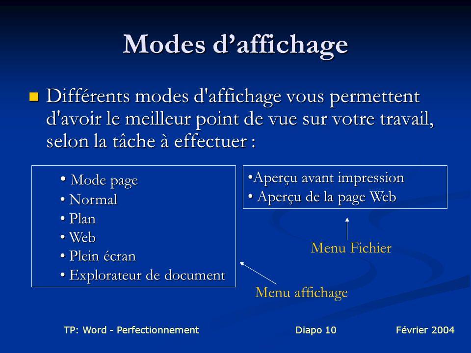 Modes d'affichage Différents modes d affichage vous permettent d avoir le meilleur point de vue sur votre travail, selon la tâche à effectuer :