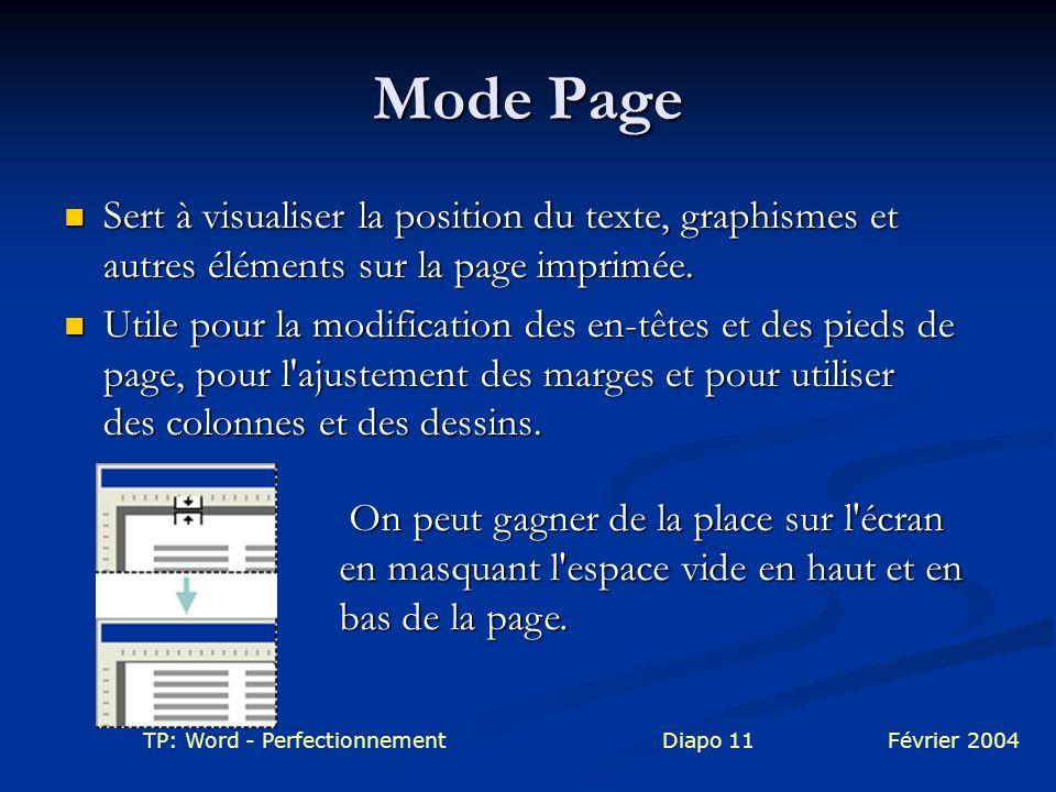 Mode Page Sert à visualiser la position du texte, graphismes et autres éléments sur la page imprimée.