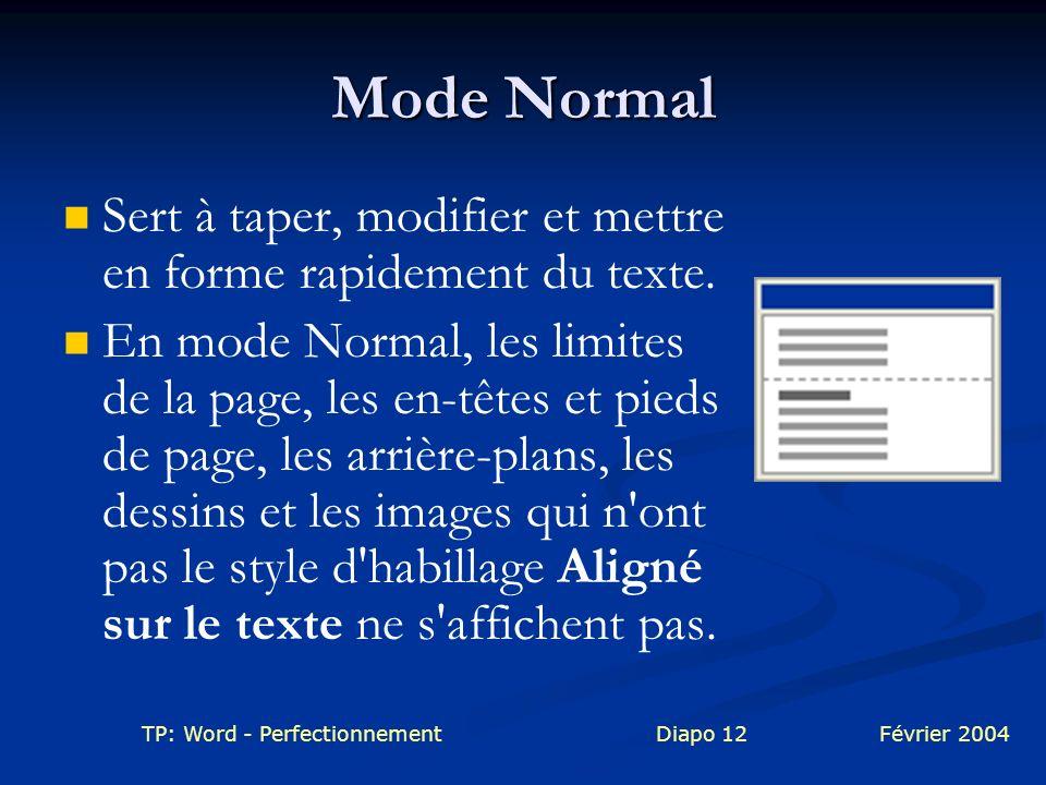 Mode Normal Sert à taper, modifier et mettre en forme rapidement du texte.