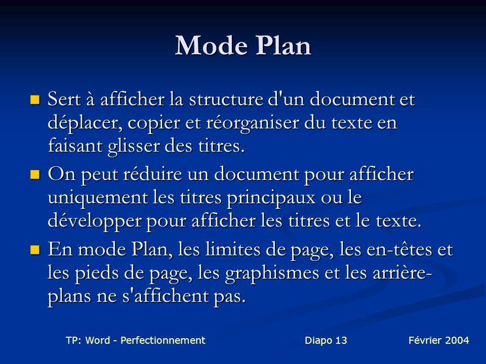 Mode Plan Sert à afficher la structure d un document et déplacer, copier et réorganiser du texte en faisant glisser des titres.