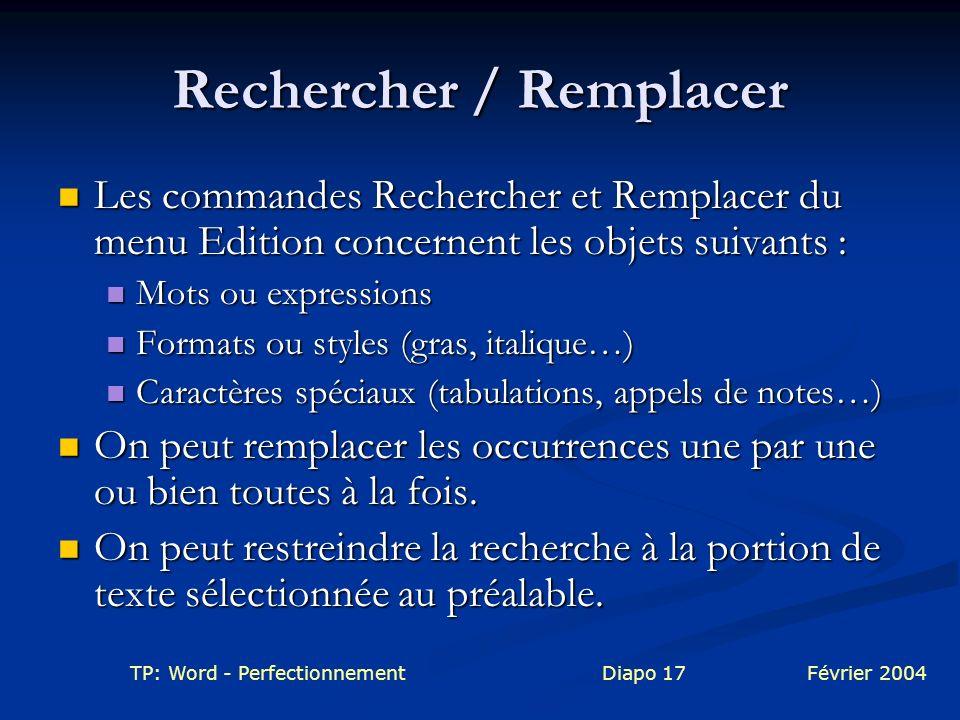 Rechercher / Remplacer
