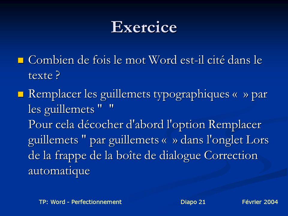Exercice Combien de fois le mot Word est-il cité dans le texte
