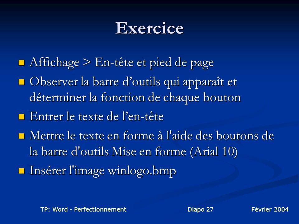 Exercice Affichage > En-tête et pied de page