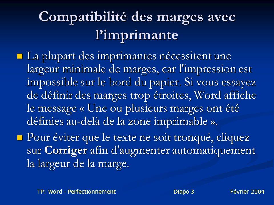 Compatibilité des marges avec l'imprimante