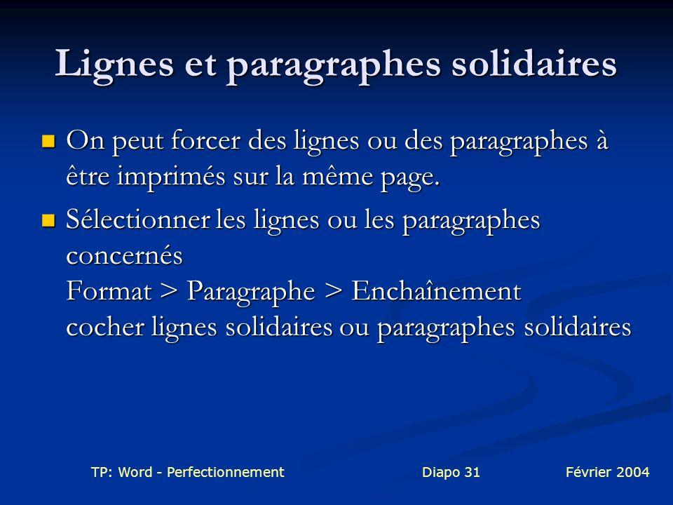 Lignes et paragraphes solidaires