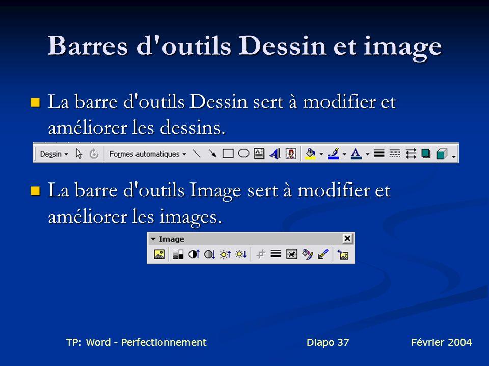 Barres d outils Dessin et image