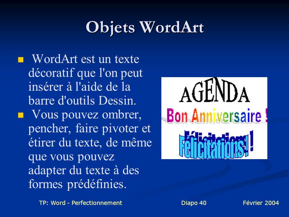 Objets WordArt WordArt est un texte décoratif que l on peut insérer à l aide de la barre d outils Dessin.