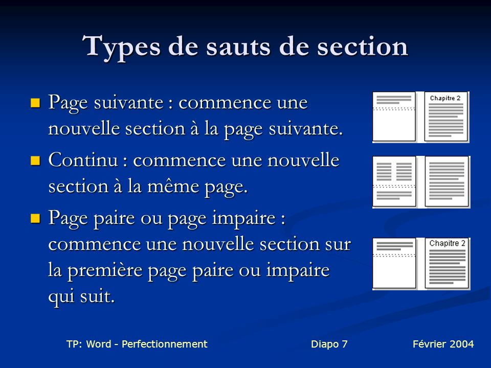 Types de sauts de section
