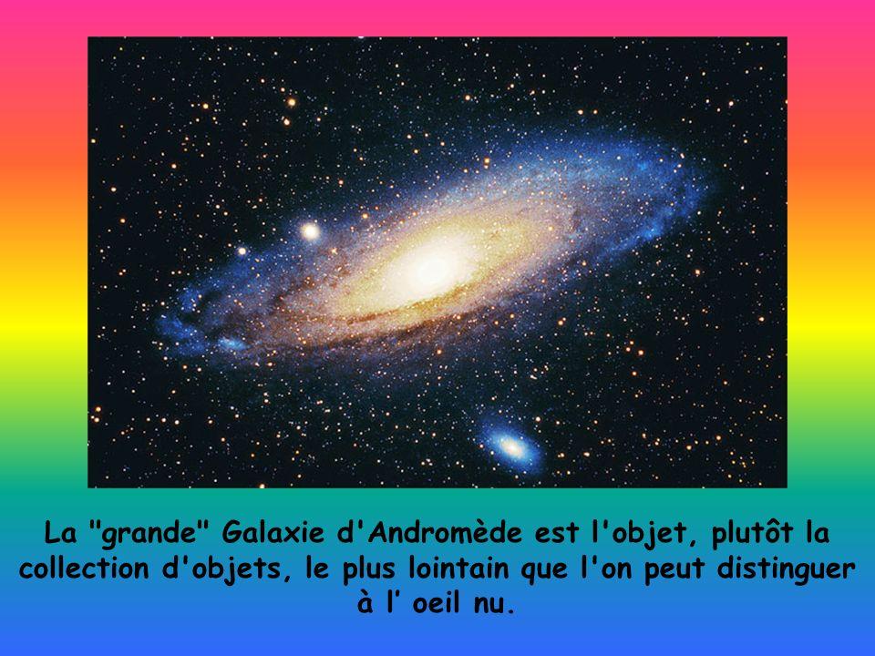 La grande Galaxie d Andromède est l objet, plutôt la collection d objets, le plus lointain que l on peut distinguer à l' oeil nu.