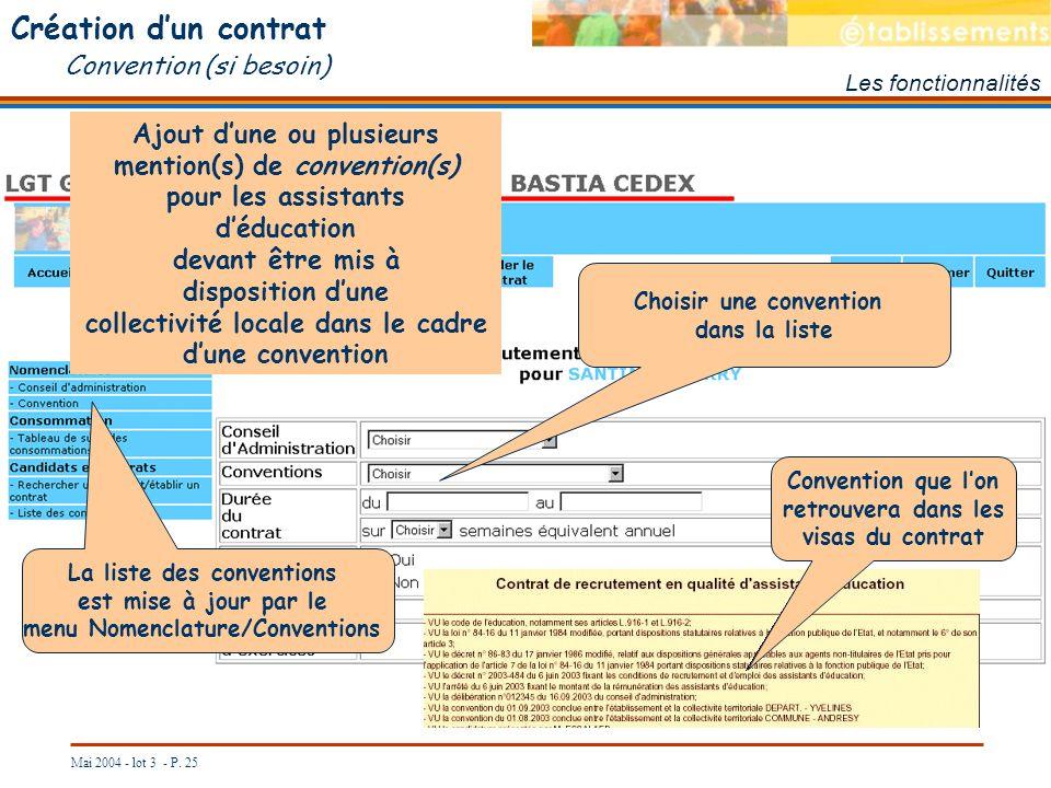 Création d'un contrat Convention (si besoin)