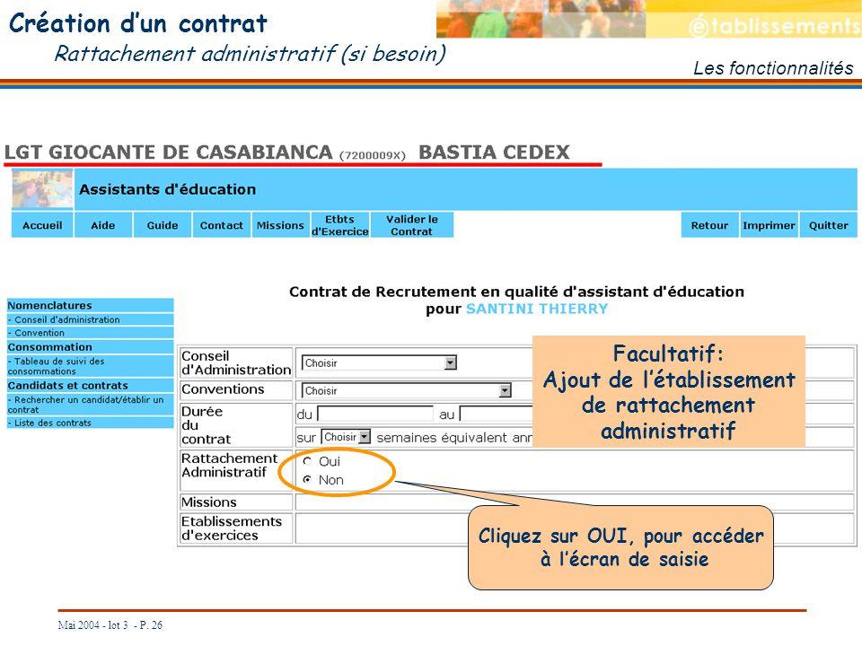Création d'un contrat Rattachement administratif (si besoin)