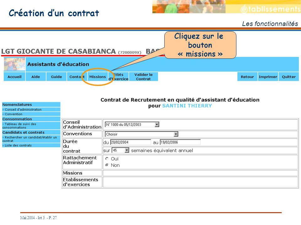 Création d'un contrat Cliquez sur le bouton « missions »