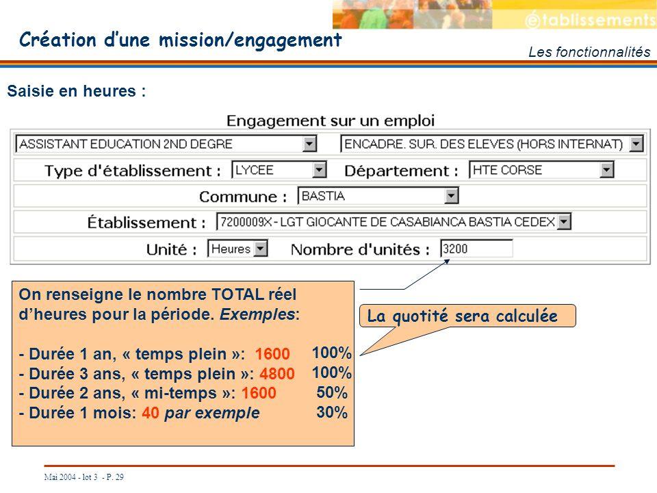 Création d'une mission/engagement