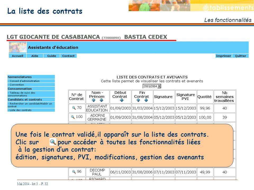 La liste des contrats Les fonctionnalités. Une fois le contrat validé,il apparaît sur la liste des contrats.