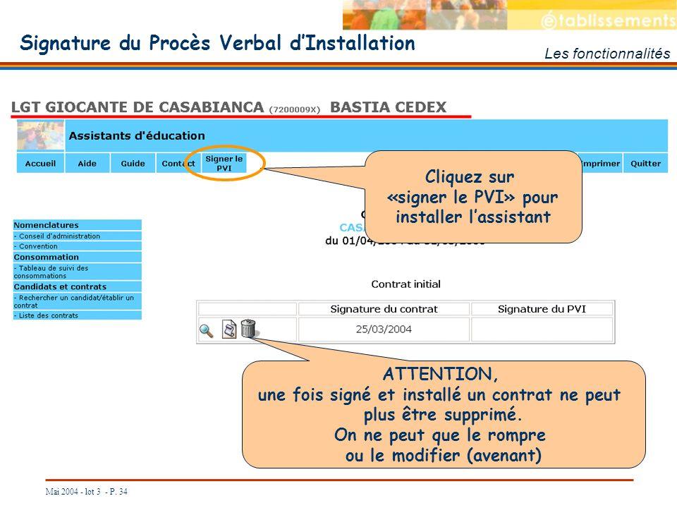 Signature du Procès Verbal d'Installation