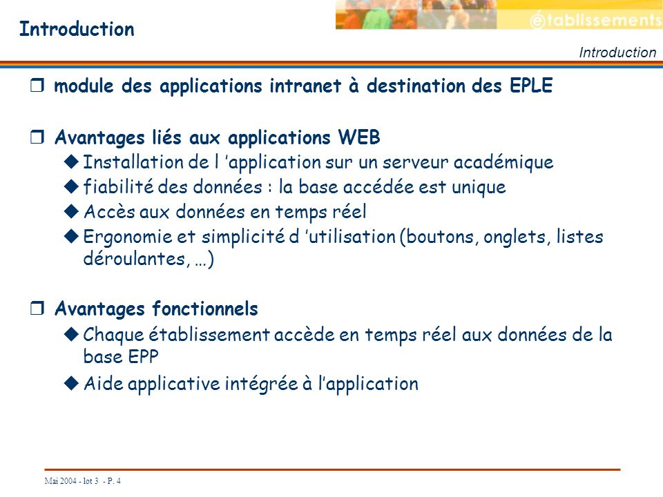 Introduction module des applications intranet à destination des EPLE