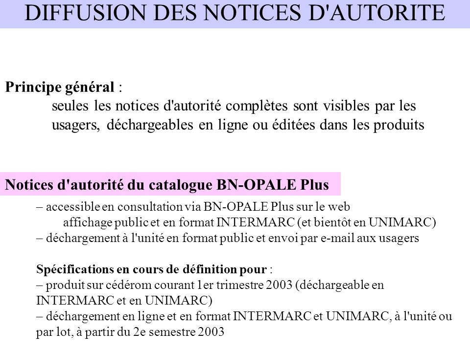 DIFFUSION DES NOTICES D AUTORITE