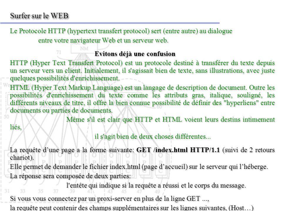 Surfer sur le WEB Le Protocole HTTP (hypertext transfert protocol) sert (entre autre) au dialogue. entre votre navigateur Web et un serveur web.