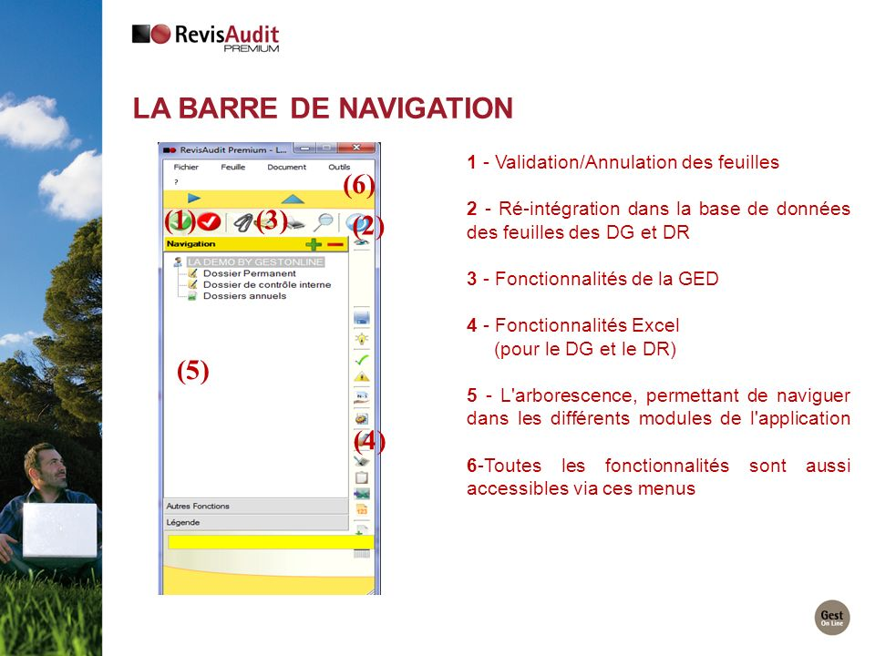 LA BARRE DE NAVIGATION (6) (1) (3) (2) (5) (4)