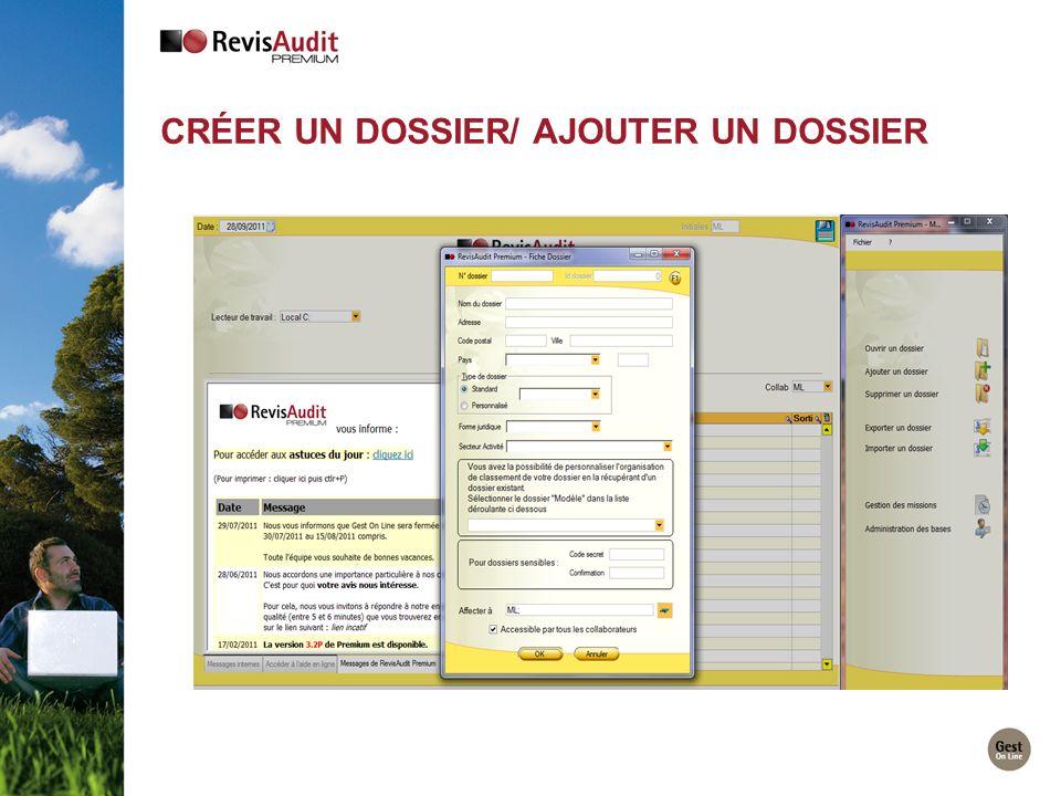 Créer un dossier/ AJOUTER UN DOSSIER
