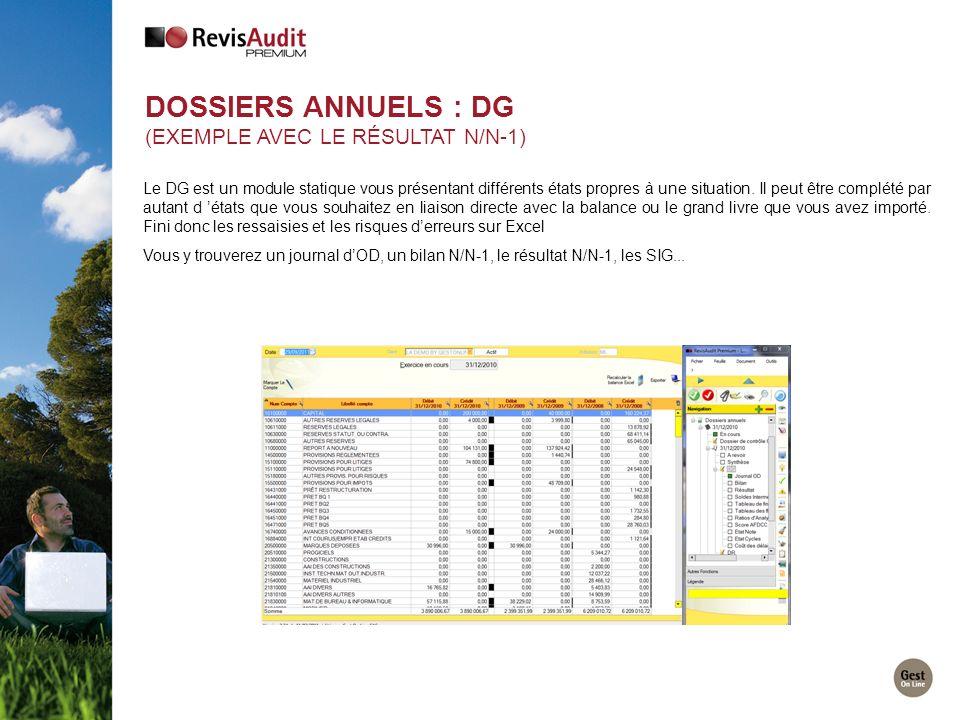Dossiers Annuels : DG (exemple avec le Résultat N/N-1)