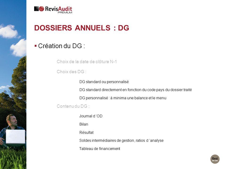 Dossiers Annuels : DG Création du DG : Choix de la date de clôture N-1