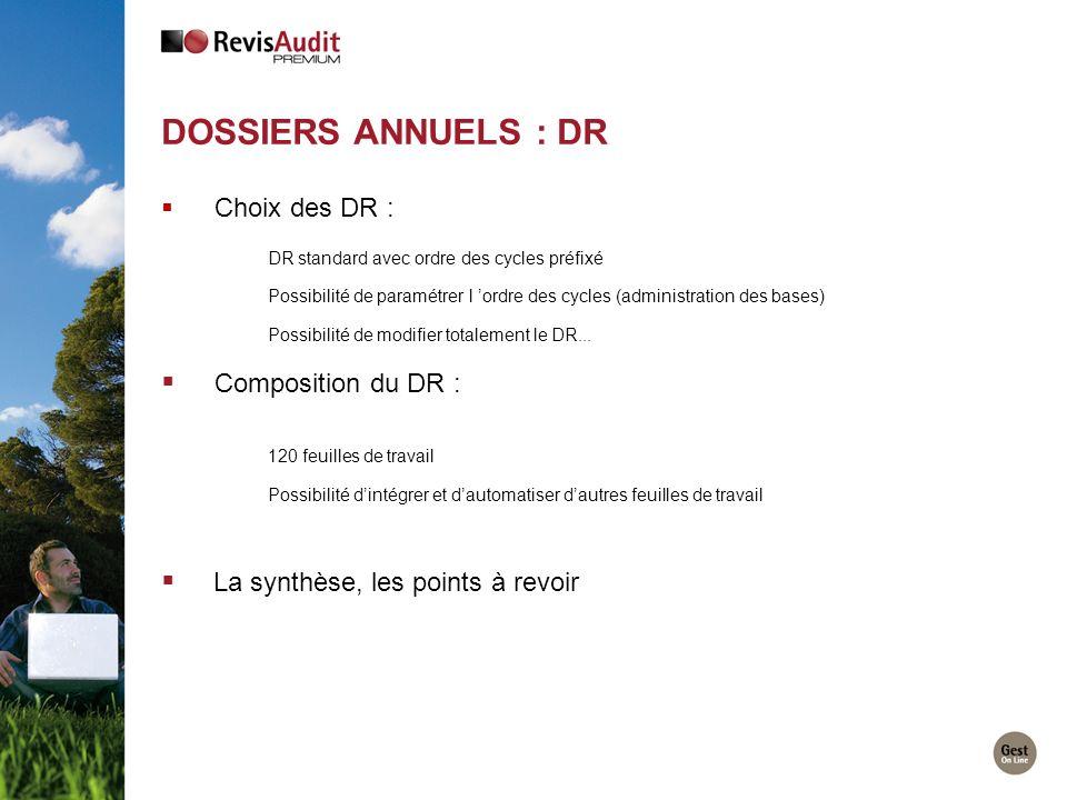 Dossiers Annuels : DR Composition du DR :