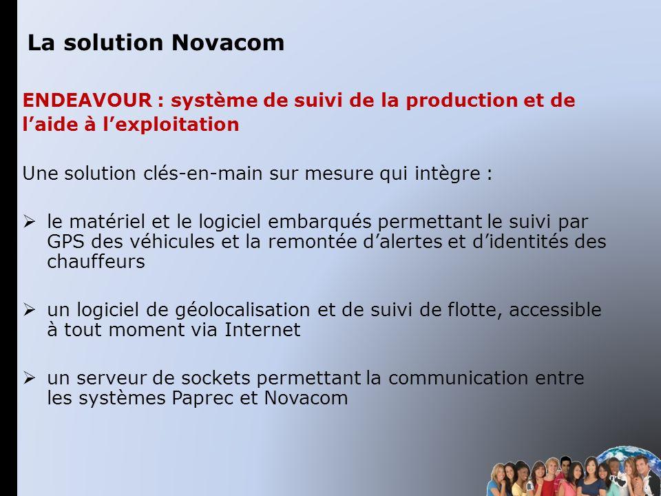La solution Novacom Endeavour : système de suivi de la production et de. l'aide à l'exploitation.