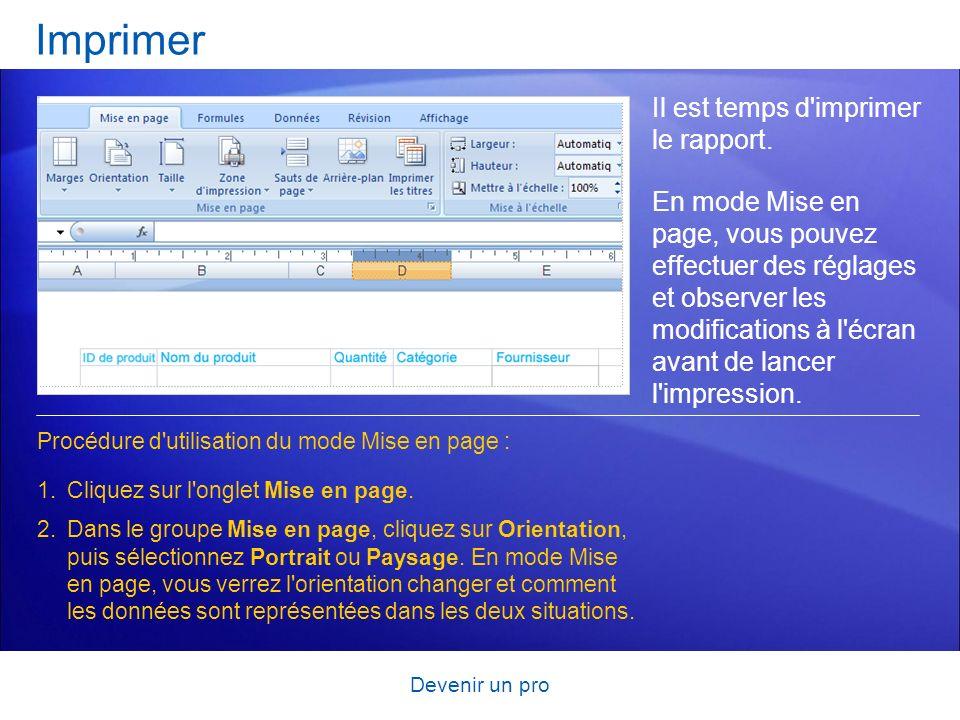 Imprimer Il est temps d imprimer le rapport.