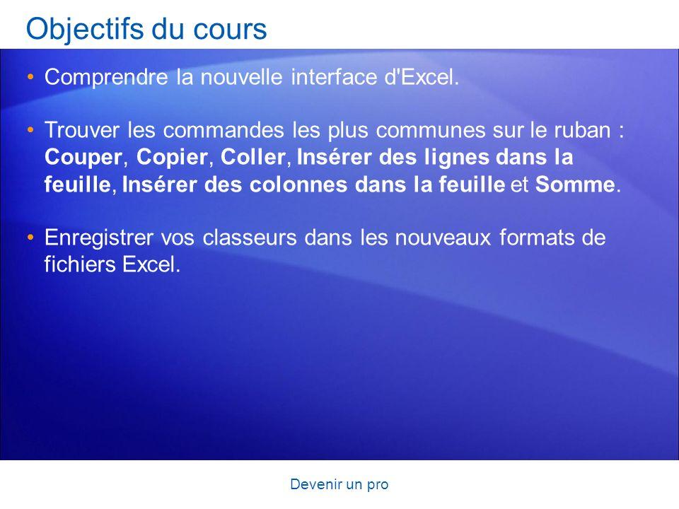 Objectifs du cours Comprendre la nouvelle interface d Excel.