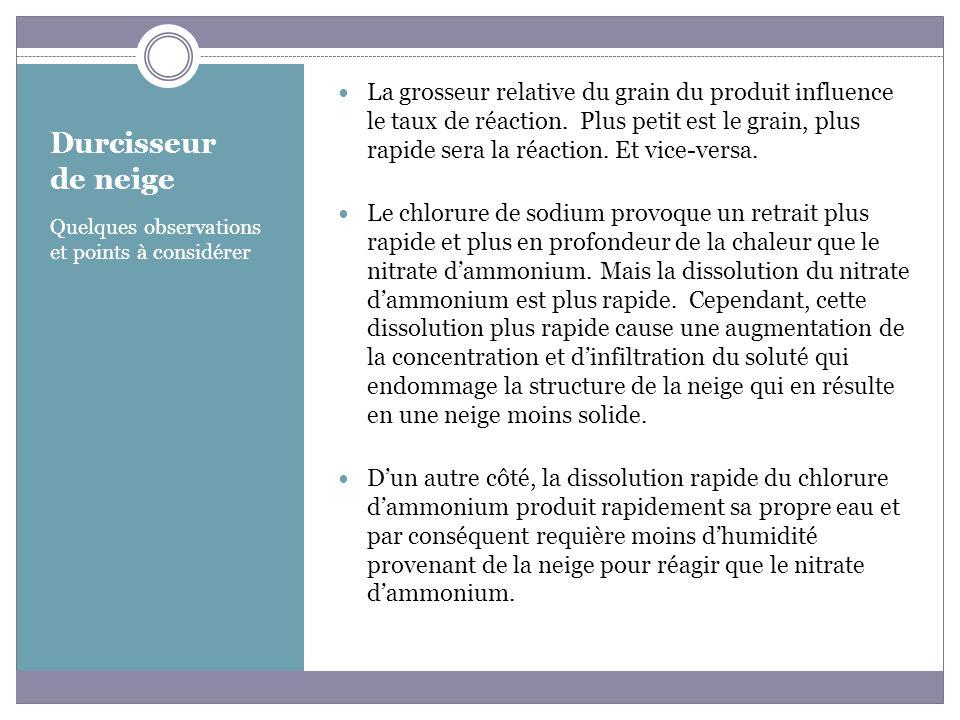 La grosseur relative du grain du produit influence le taux de réaction