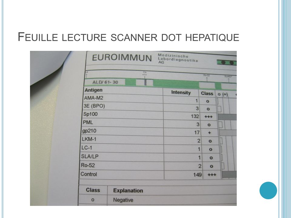 Feuille lecture scanner dot hepatique