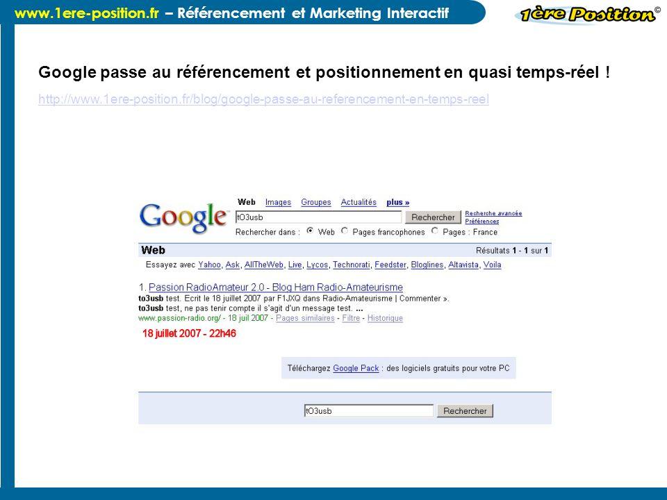 Google passe au référencement et positionnement en quasi temps-réel !