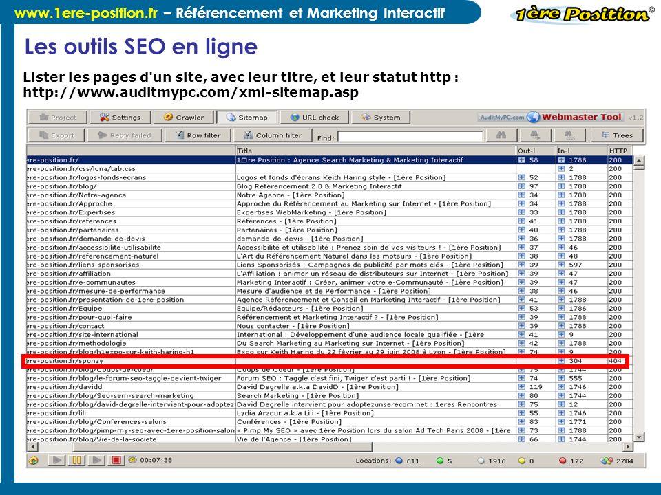 Les outils SEO en ligne Lister les pages d un site, avec leur titre, et leur statut http : http://www.auditmypc.com/xml-sitemap.asp.