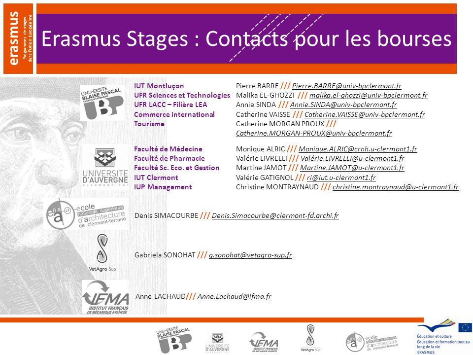 Erasmus Stages : Contacts pour les bourses