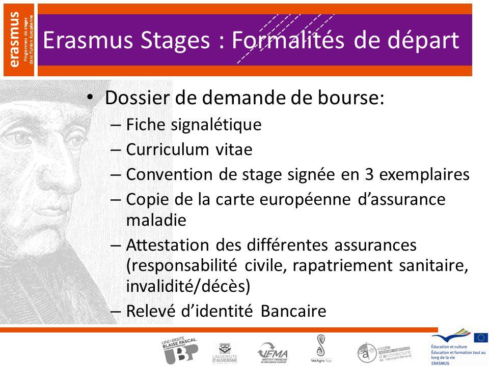 Erasmus Stages : Formalités de départ