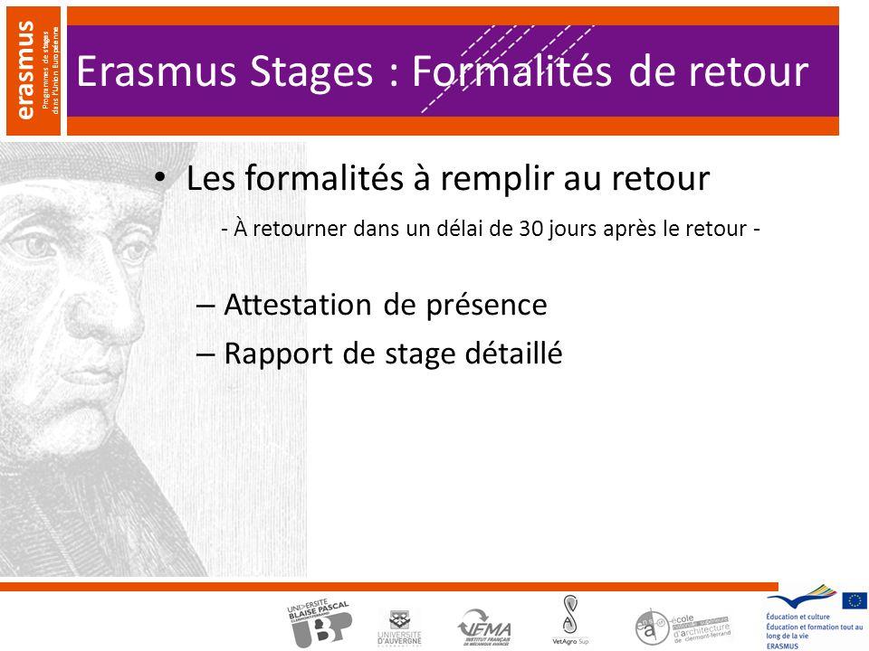 Erasmus Stages : Formalités de retour